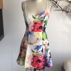 Black halo floral flair dress. Size 2